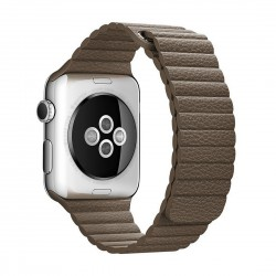 Apple Watch 42mm Loop Magnetisk Closure Clasp PU Læder Armbånd Lysebrun
