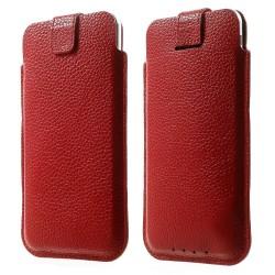 Apple iPhone 6 Plus 6S Plus 7 Plus Samsung S7 Edge Pull Tab Ægte Læder Etiu 16 x 9cm Rød