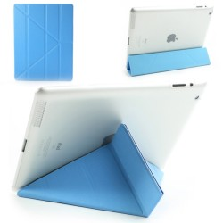 Apple iPad 4 3 2 Slim PU Læder Smart Cover med Plastik Bag Cover Blå