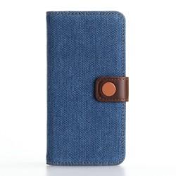 Apple iPhone 7 Jeans Cloth Pung Læder Cover Mørkeblå