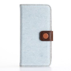 Apple iPhone 7 Jeans Cloth Pung Læder Cover Lyseblå