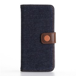Apple iPhone 7 Jeans Cloth Pung Læder Cover Møkeblå