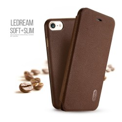 Apple iPhone 7 LENUO Ledream Slim Læder Cover Brun