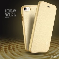 Apple iPhone 7 LENUO Ledream Slim Læder Cover Guld