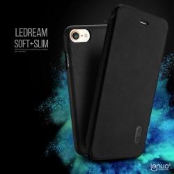 Apple iPhone 7 LENUO Ledream Slim Læder Cover Sort