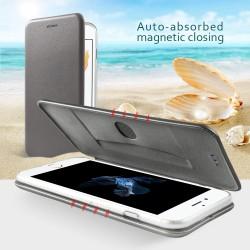 Apple iPhone 7 Plus Magnetisk Læder Støtte Cover Grå