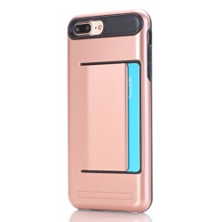 Apple iPhone 7 Plus TPU Kombi Cover med Kort Holder Rosa Guld