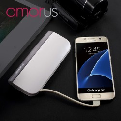 Power Bank AMORUS S1 2.1A 10400mAH til iPhone Samsung Sony Pokemon m fl Hvid