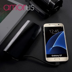 Power Bank AMORUS S1 2.1A 10400mAH til iPhone Samsung Sony Pokemon m fl Sort