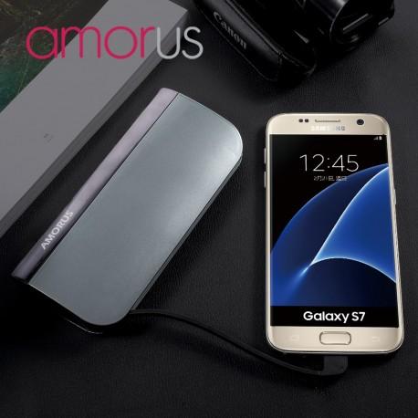 Power Bank AMORUS S1 2.1A 10400mAH til iPhone Samsung Sony Pokemon m fl Grå