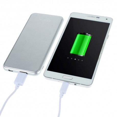 Power Bank DOCA  D606 5000mAh Ultra-Tynd til iPhone Samsung LG Sony m fl Sølv