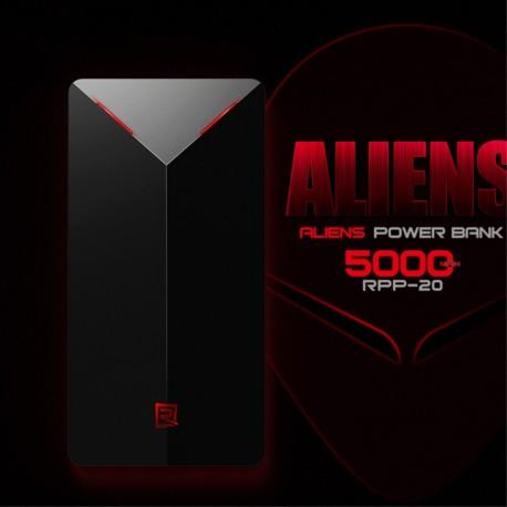 Power Bank REMAX Aliens 5000mAh til iPhone Samsung LG Sony m fl Sølv