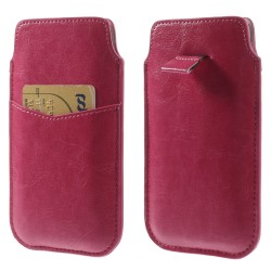 "Apple iPhone 7 6S 6 CRAZY HORSE Læder Etui med ""Pull Tab"" Pink"