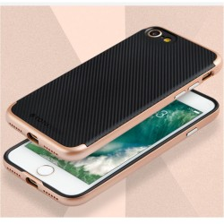 Apple iPhone 7 TOTU Carbon Fiber PC + TPU Hybrid Shell Cover Rosa Guld