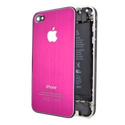Apple iPhone 4 Bag Glas Børstet Stål Pink