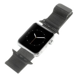 Apple Watch 42 mm Serie 1 Serie 2 MILANESE Rustfri Stål Urrem Sort