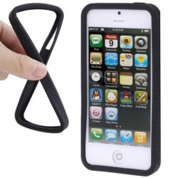 Non-slip Silikone Bumper til iPhone 5 - SORT