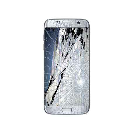 SAMSUNG GALAXY S7 Edge LCD Display & Touch Screen inkl. Ramme Reparation Sølv