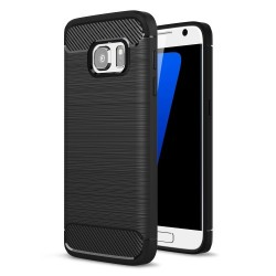 Samsung Galaxy S7 SM-G930 Carbon Fibre Brushed Plastik Cover Sort