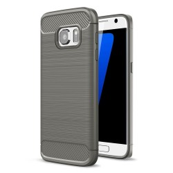 Samsung Galaxy S7 SM-G930 Carbon Fibre Brushed Plastik Cover Grå