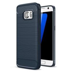 Samsung Galaxy S7 SM-G930 Carbon Fibre Brushed Plastik Cover Mørke Blå