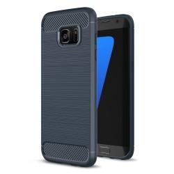 Samsung Galaxy S7 edge SM-G935 Carbon Fibre Brushed Plastik Cover Mørke Blå