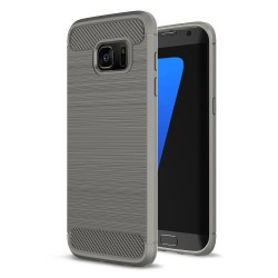Samsung Galaxy S7 edge SM-G935 Carbon Fibre Brushed Plastik Cover Grå