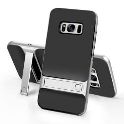 Samsung Galaxy S8 SM-G950 ELEGANCE Plastik Mønstre Cover med Støtteholder Sølv