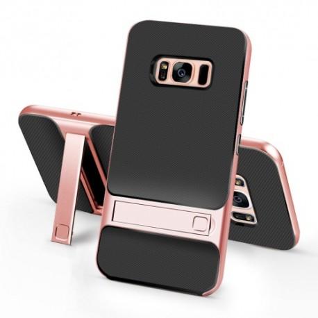 Samsung Galaxy S8 SM-G950 ELEGANCE Plastik Mønstre Cover med Støtteholder Rosenguld