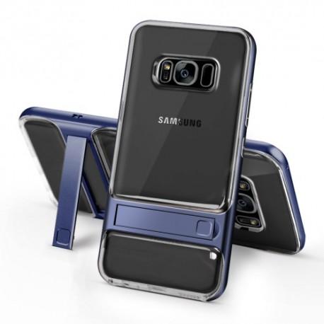Samsung Galaxy S8 SM-G950 ELEGANCE Klar Plastik Mønstre Cover med Støtteholder Mørkablå