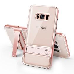 Samsung Galaxy S8 SM-G950 ELEGANCE Klar Plastik Mønstre Cover med Støtteholder Roseguld
