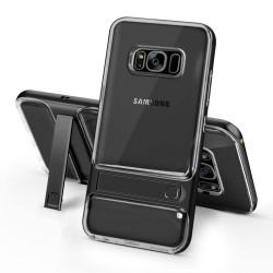 Samsung Galaxy S8 SM-G950 ELEGANCE Klar Plastik Mønstre Cover med Støtteholder Sort