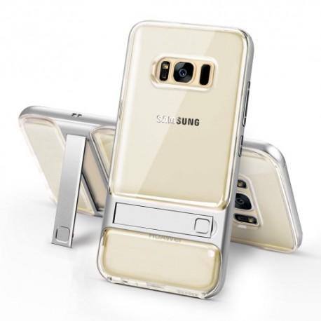 Samsung Galaxy S8 SM-G950 ELEGANCE Klar Plastik Mønstre Cover med Støtteholder sølv