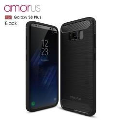 Samsung Galaxy S8+ SM-G955  AMORUS Kulstof Fiber Børstet Plastik Cover  Sort