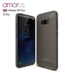 Samsung Galaxy S8+ SM-G955  AMORUS Kulstof Fiber Børstet Plastik Cover  Grå