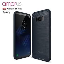 Samsung Galaxy S8+ SM-G955  AMORUS Kulstof Fiber Børstet Plastik Cover Flåde