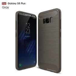 Samsung Galaxy S8 Plus Kulstof Fiber Børstet Plastik Cover Glå