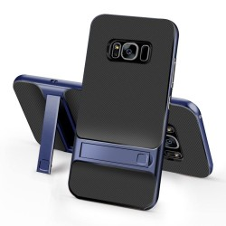 Samsung Galaxy S8+ SM-G955 ELEGANCE Plastik Mønstre Cover med Støtteholder Blå