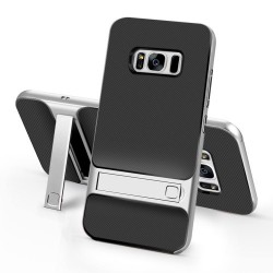 Samsung Galaxy S8+ SM-G955 ELEGANCE Plastik Mønstre Cover med Støtteholder Sølv