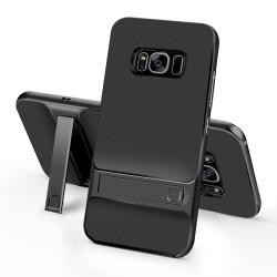 Samsung Galaxy S8+ SM-G955 ELEGANCE Plastik Mønstre Cover med Støtteholder Sort